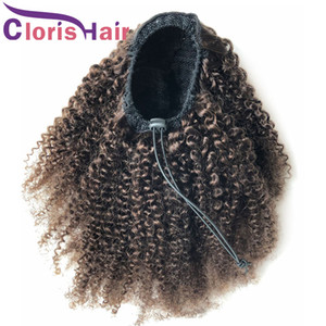 #2 Drawstring Human Hair Ponytail Afro Kinky Curly Brazilian Remy Pony Tail Extensions With Clip Ins For Black Women Darkest Brown Hairpiece