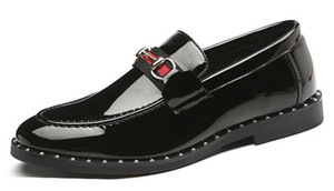 Men's Fashion Leather Slip-On Dress Business Shoes Mens Casual Buckle Driving Loafers Moccasins Man Wedding Party Flats
