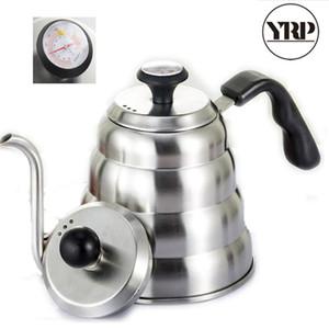 atacado 1000 / aço inoxidável 1200ml Hario Coffee Drip Chaleira Gooseneck Led saída de café Tea Pot com ferramentas Termômetro Para Baristal