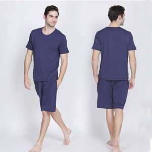 2020 New Pajama Set Men sleepwear nightsuit Casual bamboo soft breathable Male pyjamas sets T-shirt + shorts Home Clothing sets