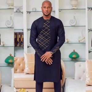 Abbigliamento africano per uomo Abito da uomo in cotone Abito africano Dashiki Ricamo Uomini vestiti Africa Africa Mens Outfit Top Pantaloni Set 2PCS