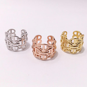 2019 Diseñador de moda de acero de titanio marca H anillos para mujeres hombres plata 18k amantes del anillo de amor Joyas de compromiso para mujeres
