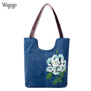 Borsa dipinta a mano Totes di grande capienza della tela di canapa di spalla delle donne del sacchetto femminile etnico pittura floreale Travel Bag Borsa Mujer