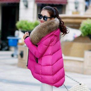 Rlyaeiz Brand New женщин пальто зимы 2019 Мода Большой меховой воротник куртки зимы женщин Parka хлопок проложенный Глянцевая Теплый Шинель