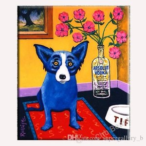 Perro azul pintado a mano HD Print Modern Abstract Animal Art Oil Painting Home Deco Wall Art en lona de alta calidad Multi tamaños a120