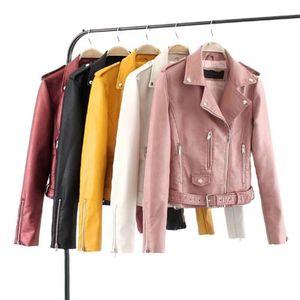 2020 Fashion Women Autumn Winter Black Faux Leather Jackets Zipper Basic Coat Turn-down Collar Biker Jacket With Blet