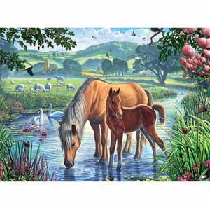 CHUNXIA Framed DIY Painting By Numbers Animals Horse Acrylic Painting Modern Picture Home Decor For Living Room 40x50cm RA3144