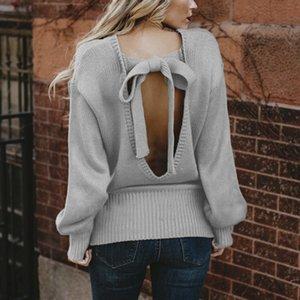 2019 Новый сексуальный свитер Nowknot Кружева с круглым вырезом Пуловеры женские Свитера Милые вязаные джемперы Осень Женская одежда Пиджаки