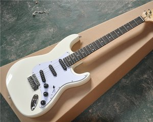 6-String Electric Guitar with Cream White Color,Scalloped Rosewood Fingerboard,3 Single Open Pickups and can be Customized