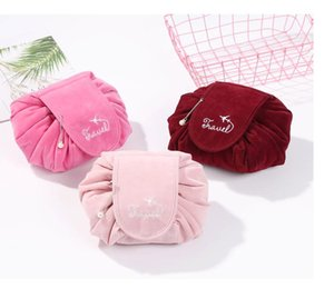 20pcs Newest Corduroy Lazy Drawstring Cosmetic Bag Large Capacity Travel Portable Make up bags