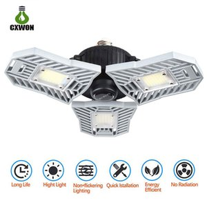 LED Garage Light Deformable 60W E26 E27 Radar Sensor Garage Lamp 6000lm Three-leaf Adjustable workshop Warehouse Parking light