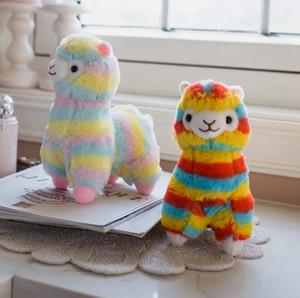 레인보우 알파카 인형 20cm 소프트 코튼 사랑스러운 동물 인형 봉제 장난감 말 라마 키즈 선물 파티 호의 OOA7398