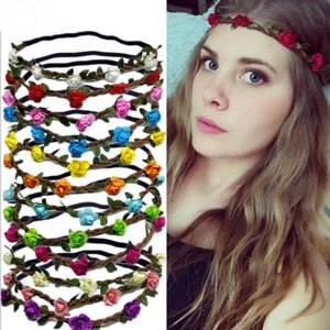 Umweltfreundlich Blumen Kranz Bride Bohemian Blumen-Stirnband-Hochzeit Blumenkranz Haarband Kopfbedeckung Haarschmuck 12 Farbe