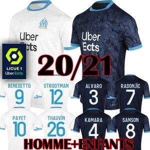 Балотелли Олимпик де Марсель футбол Джерси 2019 2020 Марсель дети униформа PAYET ом взрослых прочь синий третий L Густаво ТАУВИН рубашки