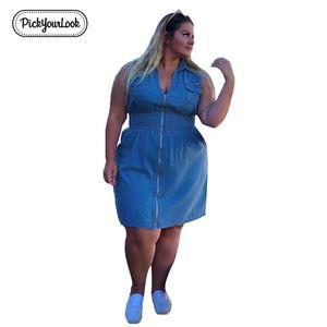 Pickyourlook Denim Dress Donna Plus Size Summer Sleeveless Fashion Blu Femminile Mini Dress Zipper Pocket V Neck Large Lady Dress Y19051001
