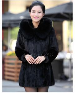 abrigos de invierno de diseño faux de las mujeres abrigo de piel de conejo mujeres abrigo de invierno con capucha Moda foxfur Cuello De longitud mediana dama abrigo abrigo de las mujeres elegantes