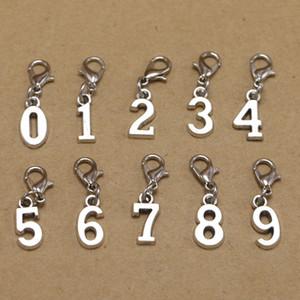 200PCS / lot سبائك الزنك 0-9 العربية عدد سلسلة المفاتيح المعدنية الشكل المشبك جراد البحر أرقام سلاسل مفاتيح DIY