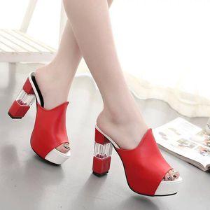Dwayne Summer Womens Shoes Moda Elegante Sandalias de tacón cuadrado Plataforma femenina Boca de pescado 11CM Súper tacones altos Zapatillas de mujer