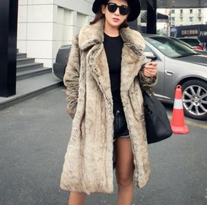 Fashion women's clothing lapels long imitation  fur coat female autumn winter keep warm casual high quality wild outerwear