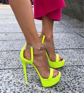 Linamong verano punta abierta del tacón de aguja alto Plataforma de cuero gladiador sandalias neón amarillo sandalias de tacón alto remiendo de PVC