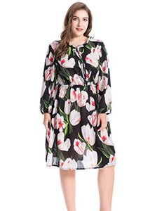 Chicwe Women's Plus Size Lily Floral Printed Ruffled Collar Dress con scollo diviso - Casual e Party Summer Dress