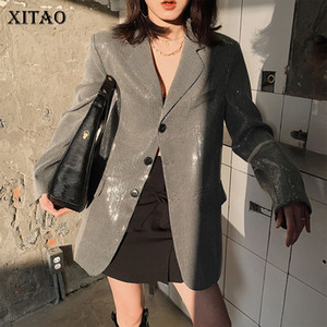 Xitao sentido del diseño Lentejuelas sueltos solo pecho gris chaquetas 2020 de la primavera de la nueva manera de Corea Blazers Escudo Mujeres DMY3755