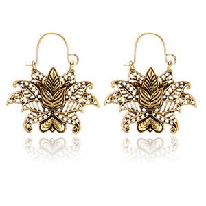 새로운 도착 아름다운 연꽃 꽃 모양 디자인 레트로 스타일 골드 실버 2 색 드롭 귀걸이 보석 여성 숙녀