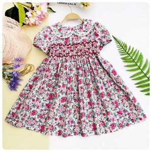 봄 여름 2019 소녀 Smocking 자수 드레스 꽃 인형 드레스 인형 소녀 Princess Smocked Party Dresses Y190516