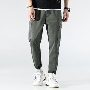 Safari Style Mens Spring New Brand Solid Cargo Pants Fashion Pockets Drawstring Waist Full Length Casual Male Jogging Trousers