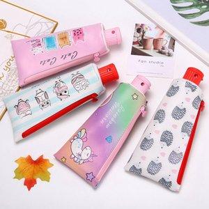 Zahnpasta-Bleistift-Kasten-Schule Einhorn Katze Pencilcase für Jungen-Mädchen-Briefpapier Studenten Banana Reißverschluss-Feder-Kasten-Leder-Bleistift-Beutel