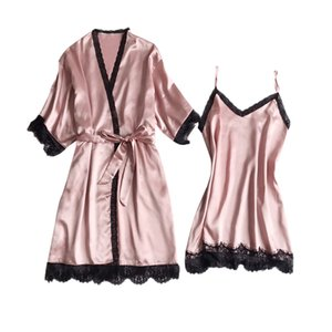 2PCS Wown Robe Gown Sets Sexy Night Dress Ropa de dormir Womens Sleep Set Robe Lingerie Lingerie Sling Nightgown Pijamas Ropa interior