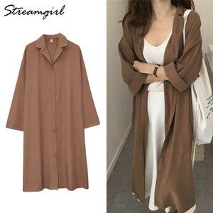 Kadınlar İçin Streamgirl Kadın Trençkot Elbise İçin Kadınlar Trençkot Sonbahar Gevşek Uzun Kollu Hendek Elbise Kadın Uzun Ceket