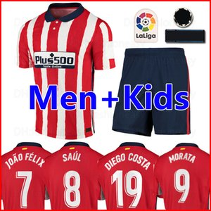 20 21 Atletico Madrid Soccer Jerseys JOAO FELIX 2020 2021 SAUL Camisetas de fútbol MORATA Mens Jersey Kids Kit DIEGO COSTA Football Shirt