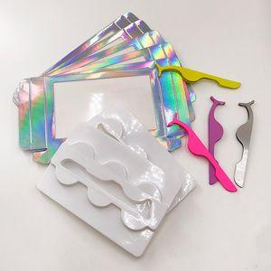 Falsche Wimpern Verpackung mit Lash Applicator Holographic Lash Box Verschiedene Wimpern Tweezer Leere 3pairs Lashes Verpackung
