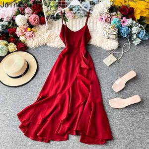 Joinyouth Women Elegant Dress Party Dresses V-neck Backless Sling Robe Sweet Ruffles Big Swing Chiffon Vestidos Korean Clothes