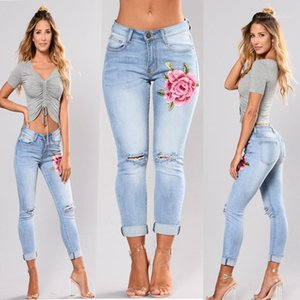 Shredded alta Jeans cintura Famale Calças Ladies flor bordada jeans stretch Slim Fit Moda Azul Luz