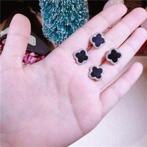 Yeni Lüks Gerçek 925 Gümüş Yonca Küpe Marka Tasarımcı Gümüş saplama Küpe Moda Kadınlar Siyah Yonca Küpe Jewelryc96f #