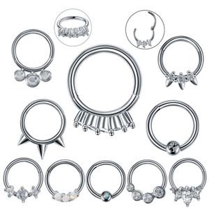 1PC / lot aço inoxidável Brinco de Nariz Septo Clicker Helix Piercings orelha orelha Tragus Cartilagem Conch Daith Rook Piercing Nariz