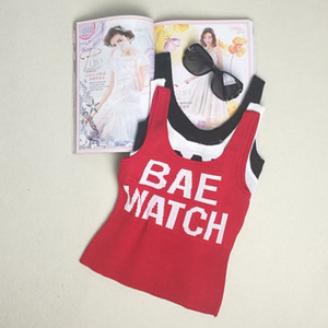 """HELIAR Women Lettering """"BAE WATCH"""" Crop Tops Sleeveless Tops Spaghetti Simple Female Sexy Embroidery Camis Crop Tops Female T200706"""