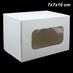 20 Piezas 7x7x10 cm de papel kraft blanco joyería y accesorios de embalaje jabón hecho a mano cuadros de cajas de tarjeta del partido Ventana Junta papel del arte de la caja de almacenaje