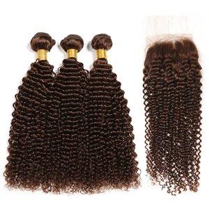 Premium Medium Brown # 4 Kinky Curly Remy Human Hair Teje 3 paquetes de tejido con cierre de encaje 4x4 envío gratis