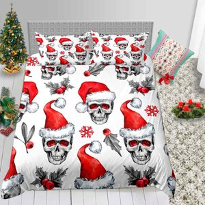 Style de Noël Ensemble de literie imprimé tête de mort Duvet Creative 3D Cover Queen Size Roi pleine Simple Double Couvre-lit avec Taie 3pcs