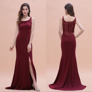 Burgundy Prom Dresses 2020 African Maid Of The Bride Evening Gowns Formal Occasion Wear Split Chiffon Lace