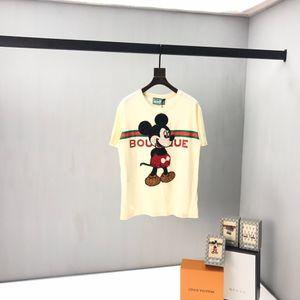 2020 primavera e no verão última moda carta tridimensional rato chapéu britânico impressão T-shirt de algodão designer de alta qualidade T-shirt dos homens