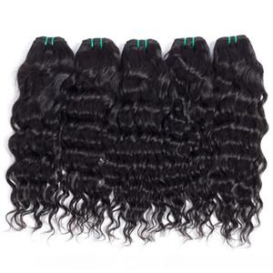 Популярной Прическа бразильского вода волны Weave волос Связка 6шта Необработанного Double Уток Natural Wave Big завитого Virgin Экстна человеческие волосы