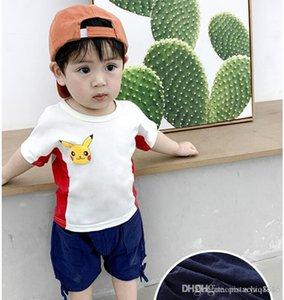 chapéu baleia Boy verão terno novo ins dinossauro dos desenhos animados crianças T-shirt de manga curta + shorts de 2 peças de roupa terno bebê