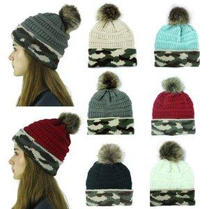 Мода Досуг вязаной шапочке Женщины осень-зима Камуфляж теплая шерсть шляпа с мячом Праздничный день рождения Christmas Party Hats DHL WX9-1756