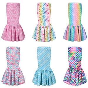 Girl Mermaid Skirt 3D Fish Scale Printed Dresses sequin Walkable Skirt Girls kids Birthday Party Cosplay Costume fishtail skirts LJJA3767-13