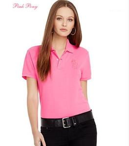 Solid Polo ricamo risvolto manica corta Tees traspirante Slim Moda Sport T-shirt estate delle donne Classic
