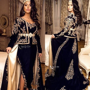 2020 Vintage Dark Navy Arabic Front Split Evening Dresses Lace V Neck Floor Length Long Sleeves Prom Dresses Mother Dress Formal Party Gown